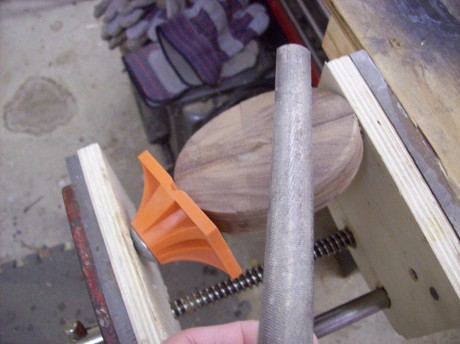 This round platform would normally not be easily held in a face vice.